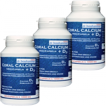 3 bottles Coral Calcium + D3 Vegi-Capsules 1000mg of 120 pcs / 360 pcs