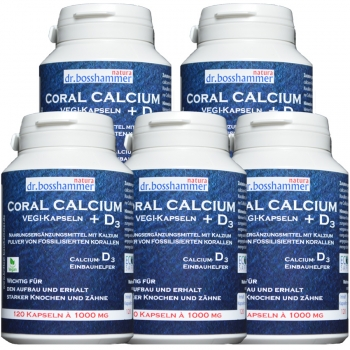 5 bottles Coral Calcium + D3 Vegi-Capsules 1000mg of 120 pcs / 600 pcs